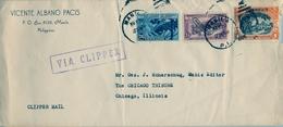 1936 FILIPINAS / PHILIPPINES , MANILA - CHICAGO , SOBRE CENSURADO , CORREO AÉREO VIA CLIPPER - Filipinas