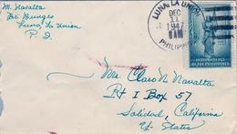 1947 FILIPINAS / PHILIPPINES , SOBRE CIRCULADO , LUNA / LA UNIÓN - SOLEDAD ( CALIFORNIA ) , INDEPENDENCIA - Filipinas