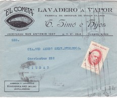 1953 COVER FRONT ONLY COMMERCIAL- EL COMETA, LAVADERO A VAPOR. CIRCULEE BUENOS AIRES  - BLEUP - Argentine