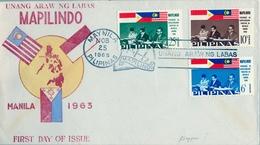 1965 FILIPINAS / PHILIPPINES , SOBRE DE PRIMER DIA , POLITICA , BANDERAS - Filipinas