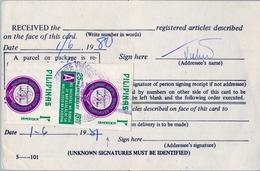 1981 FILIPINAS / PHILIPPINES , RESGUARDO DE CERTIFICADO , ASOCIACIÓN DE SALUD MENTAL DE FILIPINAS - Filipinas