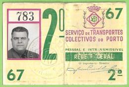 Porto - Passe Dos Transportes Colectivos - Transportation Ticket - Billet - Portugal - Week-en Maandabonnementen
