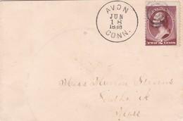 1886 COVER PRECURSEUR- USA CIRCULEE CONN TO MASS - BLEUP - 1847-99 Emissions Générales