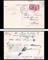 1201 France Entier Postal Stationery Carte Postale Gandon 3.50 Marron Obliteré E1 + Complément 5f Le Mans Gare - Biglietto Postale