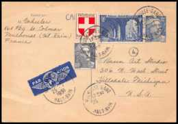 1217 France Entier Postal Stationery Carte Postale Gandon 12f Bleu Obliteré + Complément 43f Mulhouse Gare Pour Usa - Biglietto Postale