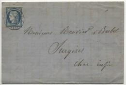 LAC 1876 - Gare De Saint-Brieuc Type 17 Sur Timbre - Postmark Collection (Covers)