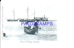 115127 EQUATOR GUAYAQUIL PLAYA DE POSORJA & SHIP POSTAL POSTCARD - Ecuador