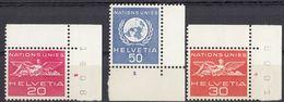 SVIZZERA - 1955/1959 - Lotto Di 3 Valori Nuovi MNH: Yvert Servizio 365, 406 E 407 Con Margini E Angolo Di Foglio. - Servizio
