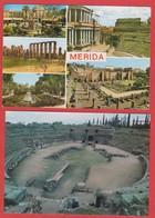 Lot 2 Postcards - Merida Multiviews - Amphitheatre Romain Theatre - Romans Ruins - Spain - Mérida