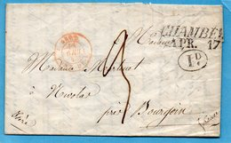 Entrée Sarde PONT DE B.,linéaire CHAMBERY,L.A.C. Du 16/4/45. - Marcophilie (Lettres)