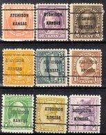 USA Precancel Vorausentwertung Preo, Locals Kansas, Atchinson 209, 9 Diff. Perf. 5 X 11x11, 4 X 11x10 1/2 - Vereinigte Staaten