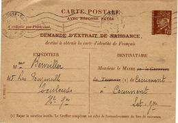 1941-C P E P  -REPONSE  1,20 Pétain - Demande D'extrait De Naissance - WW II