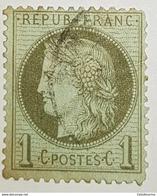Timbre Oblitéré - 1872 France - Y&T 50 - Céres Vert Olive - Valeur Faciale 1c - 1871-1875 Ceres