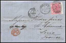 35404 N°51 Victoria 3p Pink London St Etienne France 1875 Cachet 98 Lettre Cover Grande Bretagne Great Britain - Covers & Documents