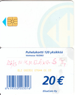 FINLAND - Elisa Telecard 20 Euro(for Use Only In Prison), CN : ELI 000301, Tirage 5000, 01/03, Used - Finland