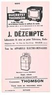 Buvard 12.5 X 23.9 Etablissements J. DEZEMPTE Rives Isère Thomson, Télévision Ducretet-Thomson, Radio - Electricidad & Gas
