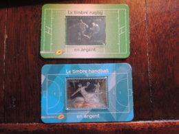 2 TIMBRES ARGENT FRANCE SOUS BLISTER PARFAIT ETAT  RUGBY 597 ET  HAND BALL   2011 ET 2012 - KlebeBriefmarken