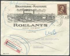 BIER BIERE ALE - BELGIUM N°645 - 3Fr.25 LEOPOLD III Col Ouvert Obl. Sc SCHAERBEEK 4 Sur Enveloppe Illustrée (BRASSERIE-M - Bières