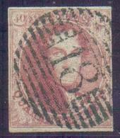 N°5 - Médaillon 40 Centimes Carmin-rose, à Peine Effleurée à Droite Sinon Bien Margé Et Obl. P.18 BINCHE Centrale Et Bie - 1849-1850 Medaillen (3/5)
