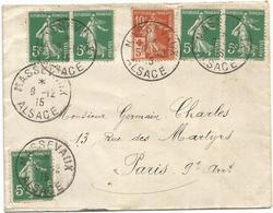 SEMEUSE 10C CROIX ROUGE +5CX5 LETTRE MASSEVAUX 9.12.1915 ALSACE POUR PARIS - 1906-38 Semeuse Camée