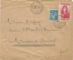 SURTAXE 50C MOLIERE RARE +1FR TURQUOISE LETTRE ST PIERRE D'ALLEVARD 26.12.1944 ISERE + VIGNETTE 5FR SOS ISERE - Marcophilie (Lettres)