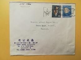 1966 BUSTA INTESTATA AIR MAIL SINGAPORE  BOLLI FAUNA  STORIA POSTALE DESTINATION ENGLAND ETICHETTA CHRISTMAS ANNULLO - Singapore (1959-...)