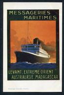 1920'S POSTER ADVERT PC -- MESSAGERIES MARITIMES -- LEVANT - EXTREME ORIENT AUSTRALASIE MADAGASCAR - Passagiersschepen