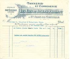 Facture 1/2 Format 1932 + 2 Traites 1933 / 01 SAINT JEAN DE GONVILLE / Tannerie & Corroierie J. PHILIPPE - France