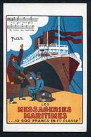 1920'S POSTER ADVERT PC -- MESSAGERIES MARITIMES -- 10 500 FRANCS EN 1ERE CLASSE ! (+ AMERICAN TOURIST ?) - Paquebots
