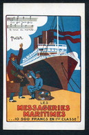 1920'S POSTER ADVERT PC -- MESSAGERIES MARITIMES -- 10 500 FRANCS EN 1ERE CLASSE ! (+ AMERICAN TOURIST ?) - Passagiersschepen