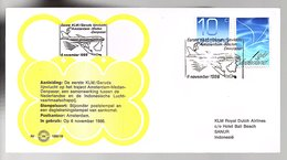 1986 1st Flight KLM Garuda Amsterdam > Medan > Denpasar IIndonesia LIMITED QUANTITY ISSUED (EW-65) - 1980-... (Beatrix)