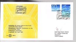 1987 1st Flight KLM Amsterdam > Tokyo Japan LIMITED QUANTITY ISSUED (EW-67) - Briefe U. Dokumente