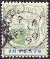 MAURITIUS 1897 QV 18c Green & Ultramarine SG132 Used - Mauritius (...-1967)