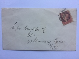 GB Victoria Cover 1866 London Internal Tied With 1d Red Plate - 1840-1901 (Victoria)