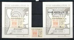 Estonia 1993 First Estonian Postage Stamp Anniv + 2xMS MUH - Estonia