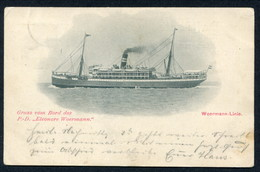 """1903 USED PC -- GRUS VOM BORD DES P.D. """"ELEONORE WOERMANN"""" - Steamers"""