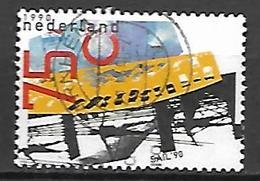 PAYS - BAS       -    1990 .   Y&T  N° 1358 Oblitéré.    Construction D'un Navire - 1980-... (Beatrix)
