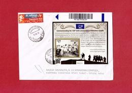 Bhutan -150th Birth Anniversary Of Mahatma Gandhi - MS On Registered Cover To India, QR Code, Salt March, Quote, - Mahatma Gandhi