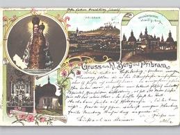 Lithographie 1898 Gruss Von Hl. Bergt Und Příbram Pibrans Mittelböhmen, Kloster Svatá Hora Etc. - Tsjechië