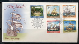 PNG 1987 Ships I (5) 5t,35t,45t,70t,K2 FDC - Papua New Guinea