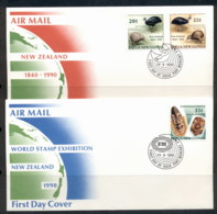PNG 1990 New Zealand Satmp Ex 2x FDC - Papua New Guinea