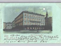 Gruss Aus Linz Quasi Halt-gegen-Licht Hotel Erzherzog Karl Mondscheinkarte 1901 Gelaufen - Linz