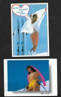 Ski Neige Montagne Humour /  Pin Up 2 Cartes Femme Nue Nude Woman Donna Nuda Nackte Frau Seins Nus - Pin-Ups