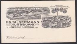 Vertreterkarte Augsburg, Chemische Fabriken F. B. Silbermann, Fabrikansicht Und Auszeichnungen - 1800 – 1899