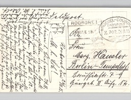 Postcard Belgian Eagle And Flag With BRÜSSEL-COURTRAI Bahnpost 1915 + ROOBORST Boxed Stamp-  Both Very Sharp - Poststempels/ Marcofilie