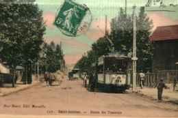 13 - MARSEILLE - SAINT ANTOINE - Station Des Tramways  ** RARE Et Belle Carte Photo Couleur De 1911 ** - Quartiers Nord, Le Merlan, Saint Antoine