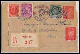 4694 Iris 1f Affranchissement Mixte Compose Complement Recommandé 1942 Paris Cujas Carte Lettre France Entier Stationery - Entiers Postaux