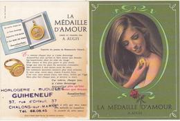 Petit Calendrier 1968 LA MEDAILLE D'AMOUR A. AUGIS / Horlogerie - Bijouterie GUIHENEUF à CHALONS-sur-MARNE - Petit Format : 1961-70