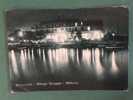 Cartolina Riccione - Albergo Spiaggia - Notturno - 1956 - Rimini