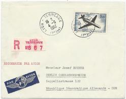 LETTRE RECOMMANDEE PAR AVION POUR L'ALLEMAGNE 1962 AVEC TIMBRE A 5,00 FR CARAVELLE - Luftpost